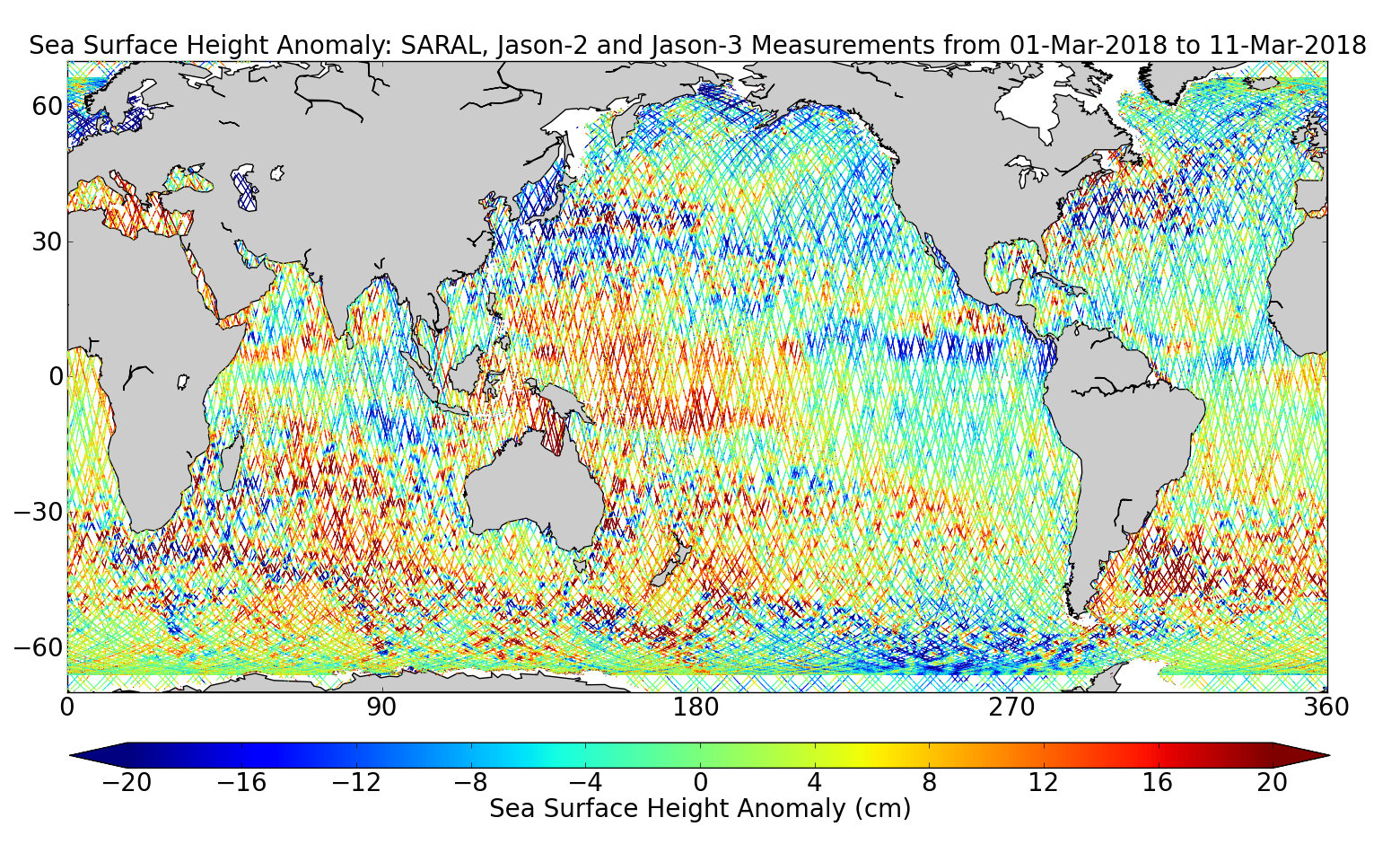 Sea Surface Height Anomaly: SARAL, Jason-2 and Jason-3 Measurements from 01-Mar-2018 to 11-Mar-2018