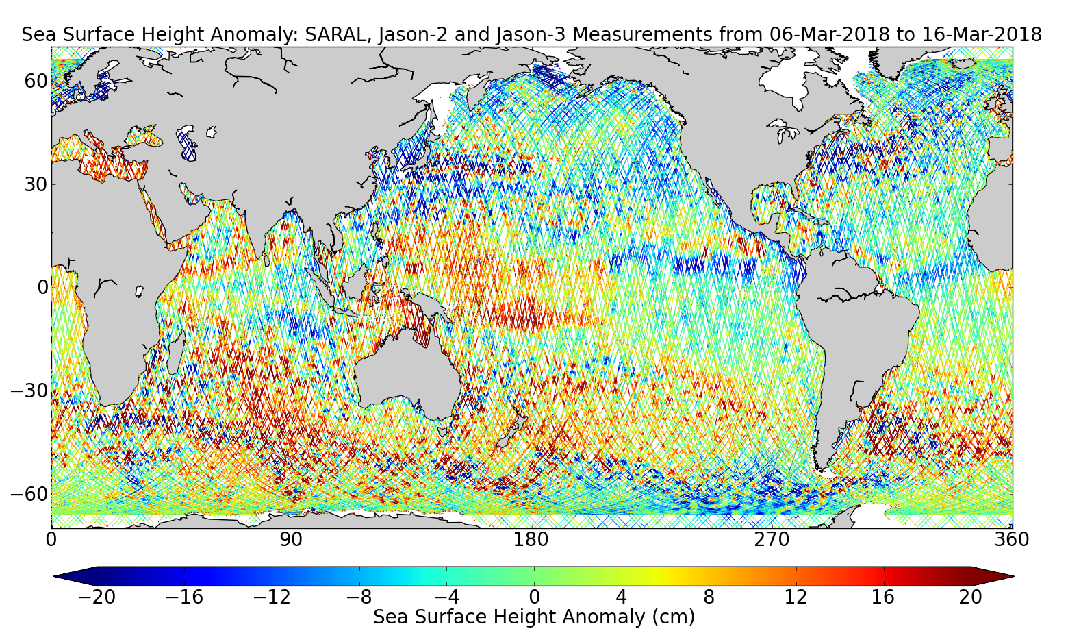 Sea Surface Height Anomaly: SARAL, Jason-2 and Jason-3 Measurements from 06-Mar-2018 to 16-Mar-2018