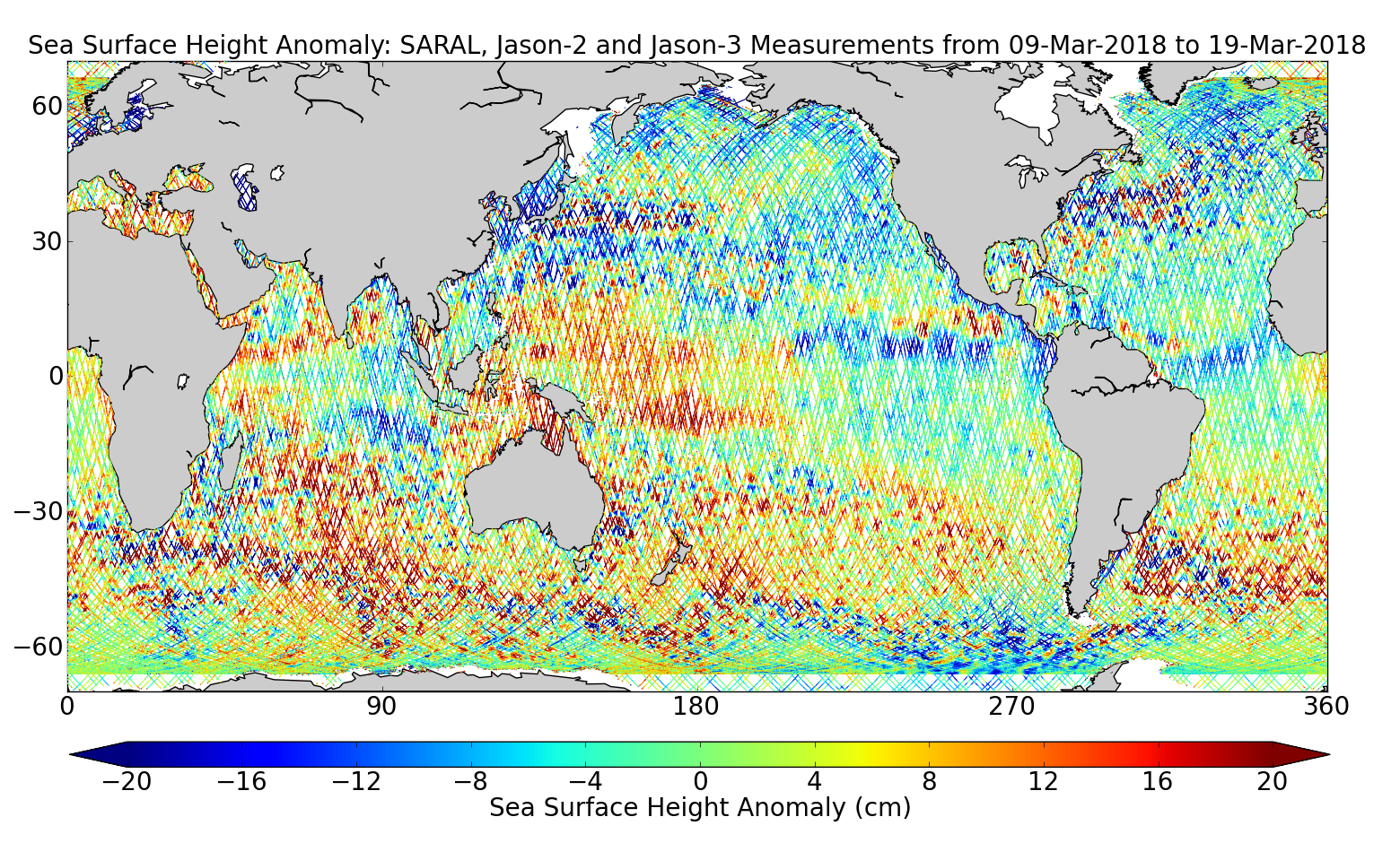 Sea Surface Height Anomaly: SARAL, Jason-2 and Jason-3 Measurements from 09-Mar-2018 to 19-Mar-2018