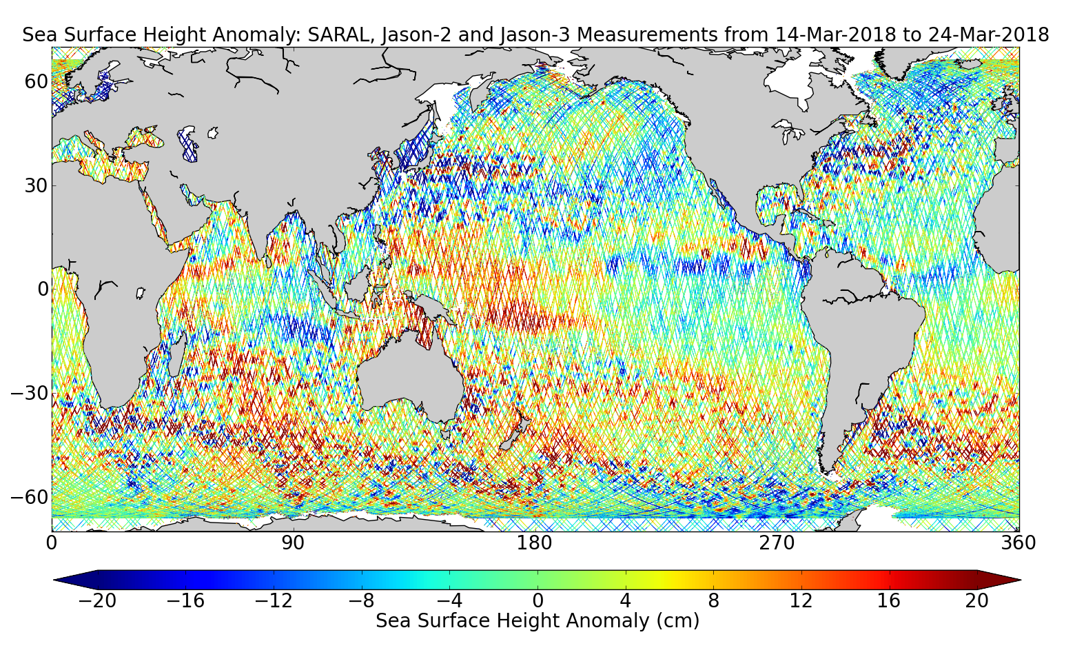 Sea Surface Height Anomaly: SARAL, Jason-2 and Jason-3 Measurements from 14-Mar-2018 to 24-Mar-2018
