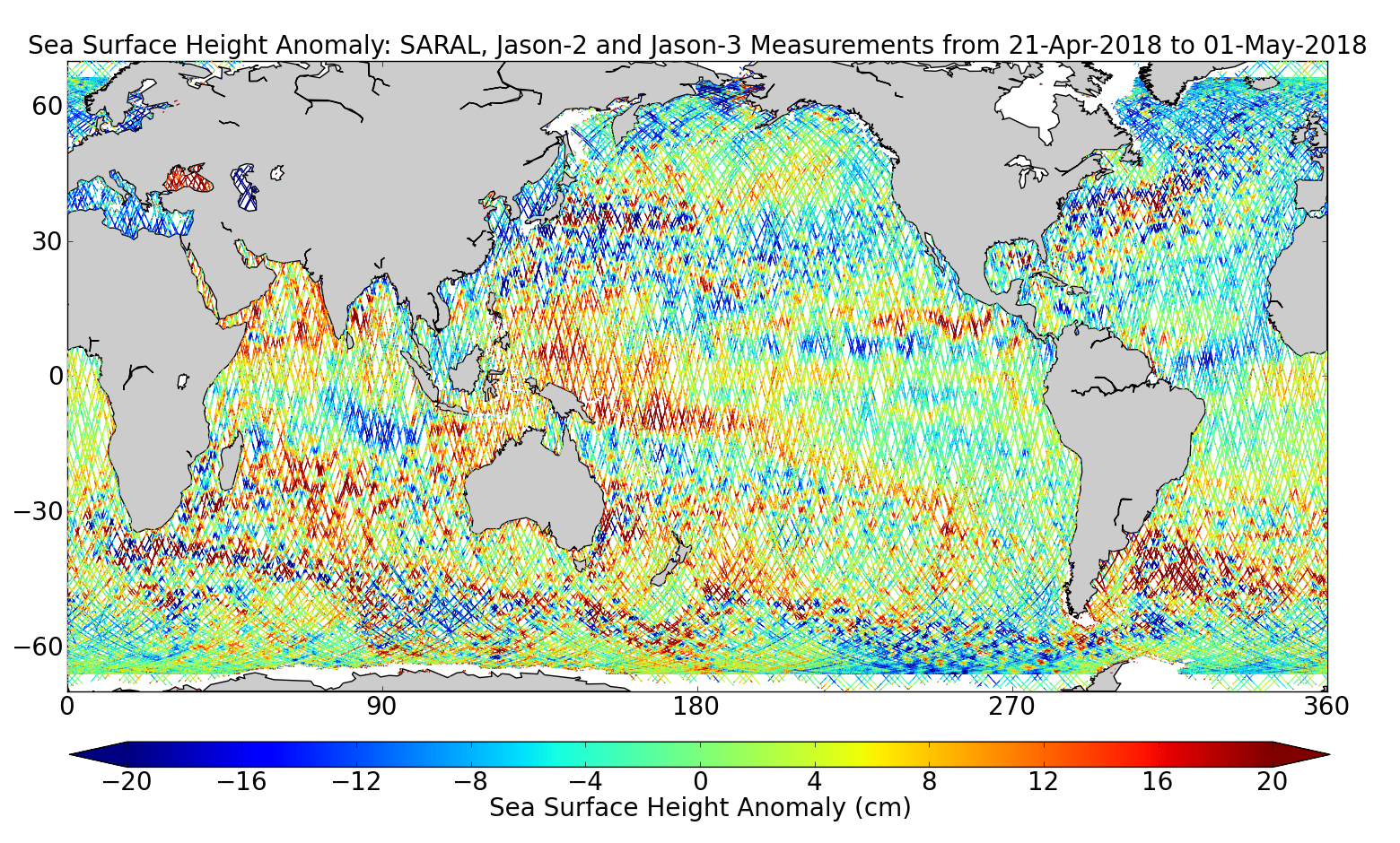 Sea Surface Height Anomaly: SARAL, Jason-2 and Jason-3 Measurements from 21-Apr-2018 to 01-May-2018