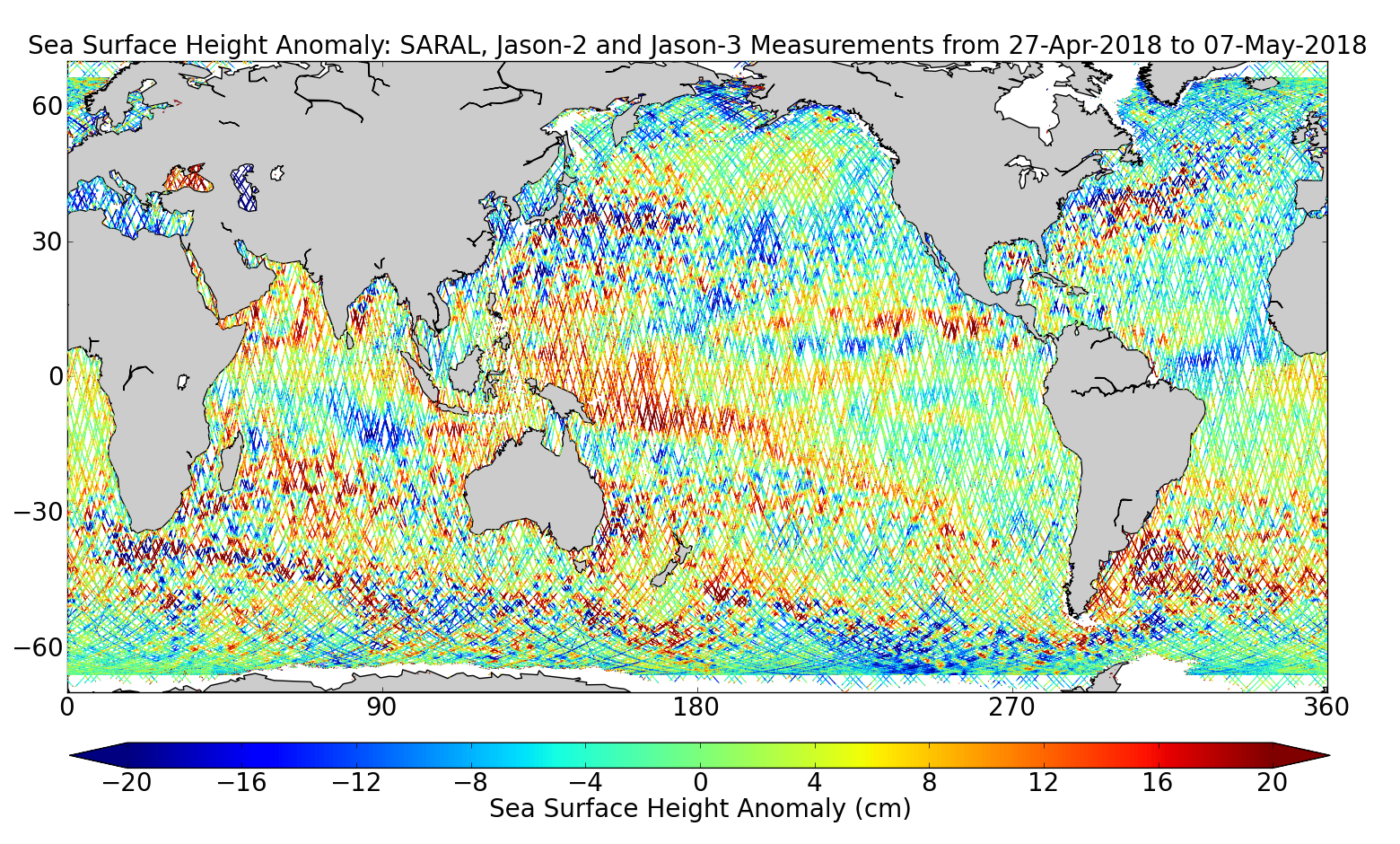Sea Surface Height Anomaly: SARAL, Jason-2 and Jason-3 Measurements from 27-Apr-2018 to 07-May-2018