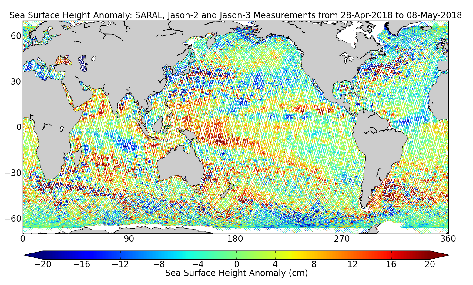 Sea Surface Height Anomaly: SARAL, Jason-2 and Jason-3 Measurements from 28-Apr-2018 to 08-May-2018