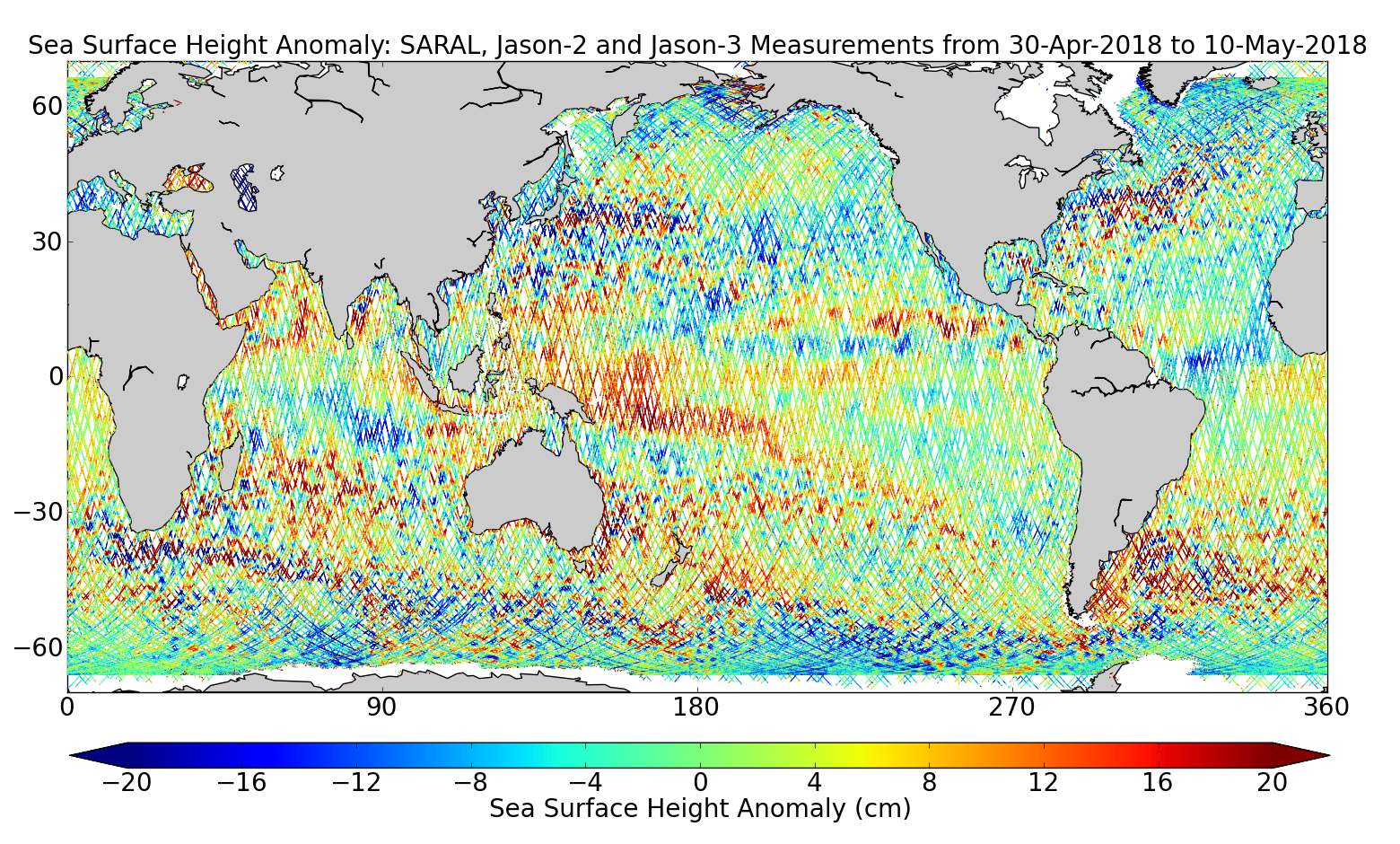 Sea Surface Height Anomaly: SARAL, Jason-2 and Jason-3 Measurements from 30-Apr-2018 to 10-May-2018