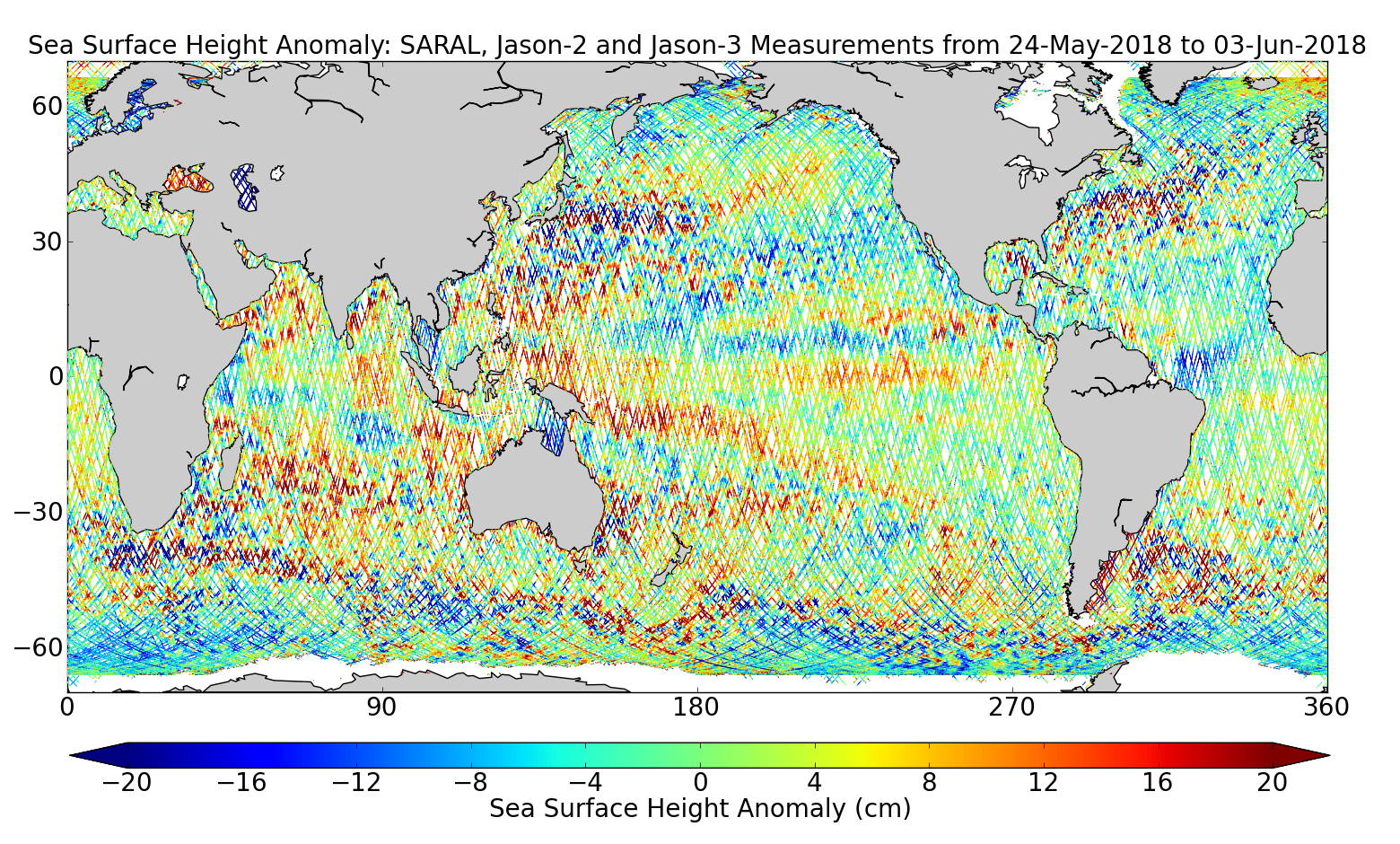 Sea Surface Height Anomaly: SARAL, Jason-2 and Jason-3 Measurements from 24-May-2018 to 03-Jun-2018
