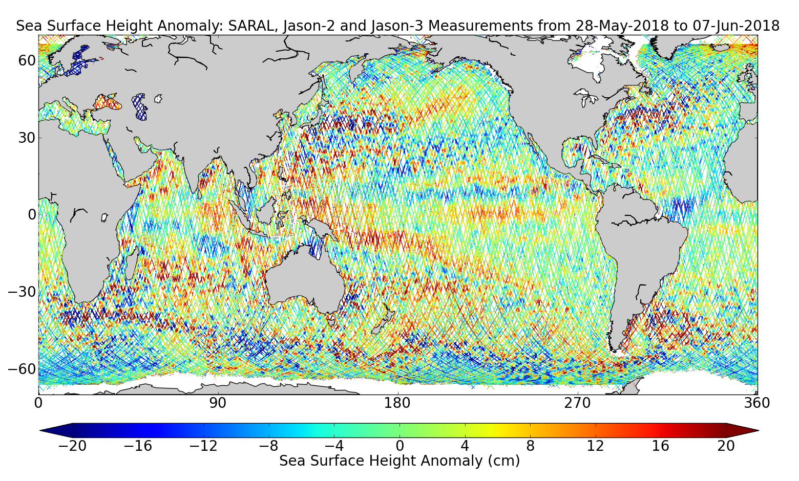 Sea Surface Height Anomaly: SARAL, Jason-2 and Jason-3 Measurements from 28-May-2018 to 07-Jun-2018