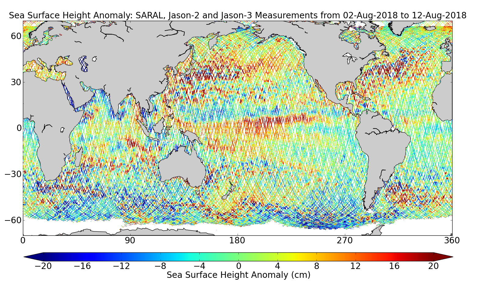 Sea Surface Height Anomaly: SARAL, Jason-2 and Jason-3 Measurements from 02-Aug-2018 to 12-Aug-2018