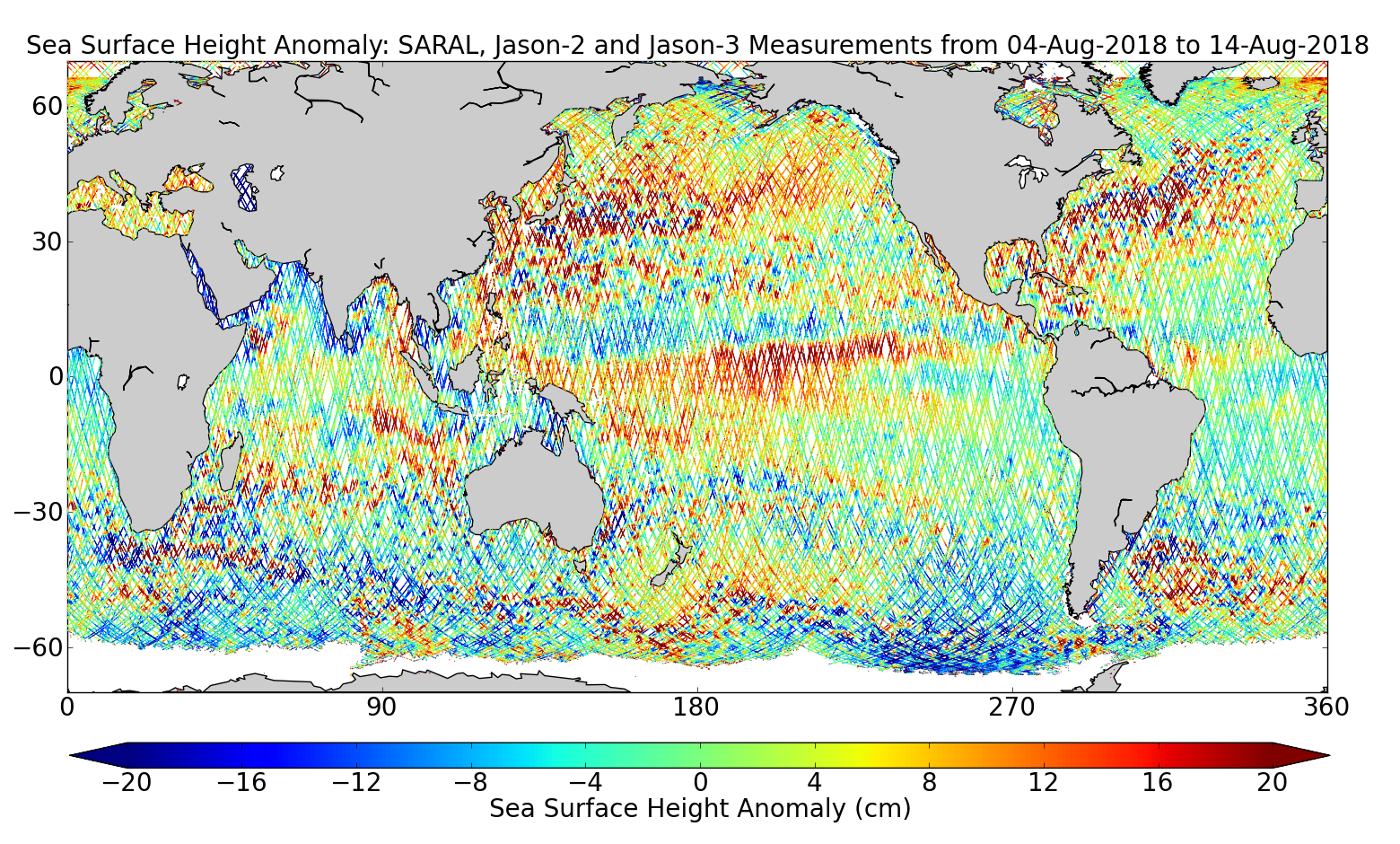 Sea Surface Height Anomaly: SARAL, Jason-2 and Jason-3 Measurements from 04-Aug-2018 to 14-Aug-2018