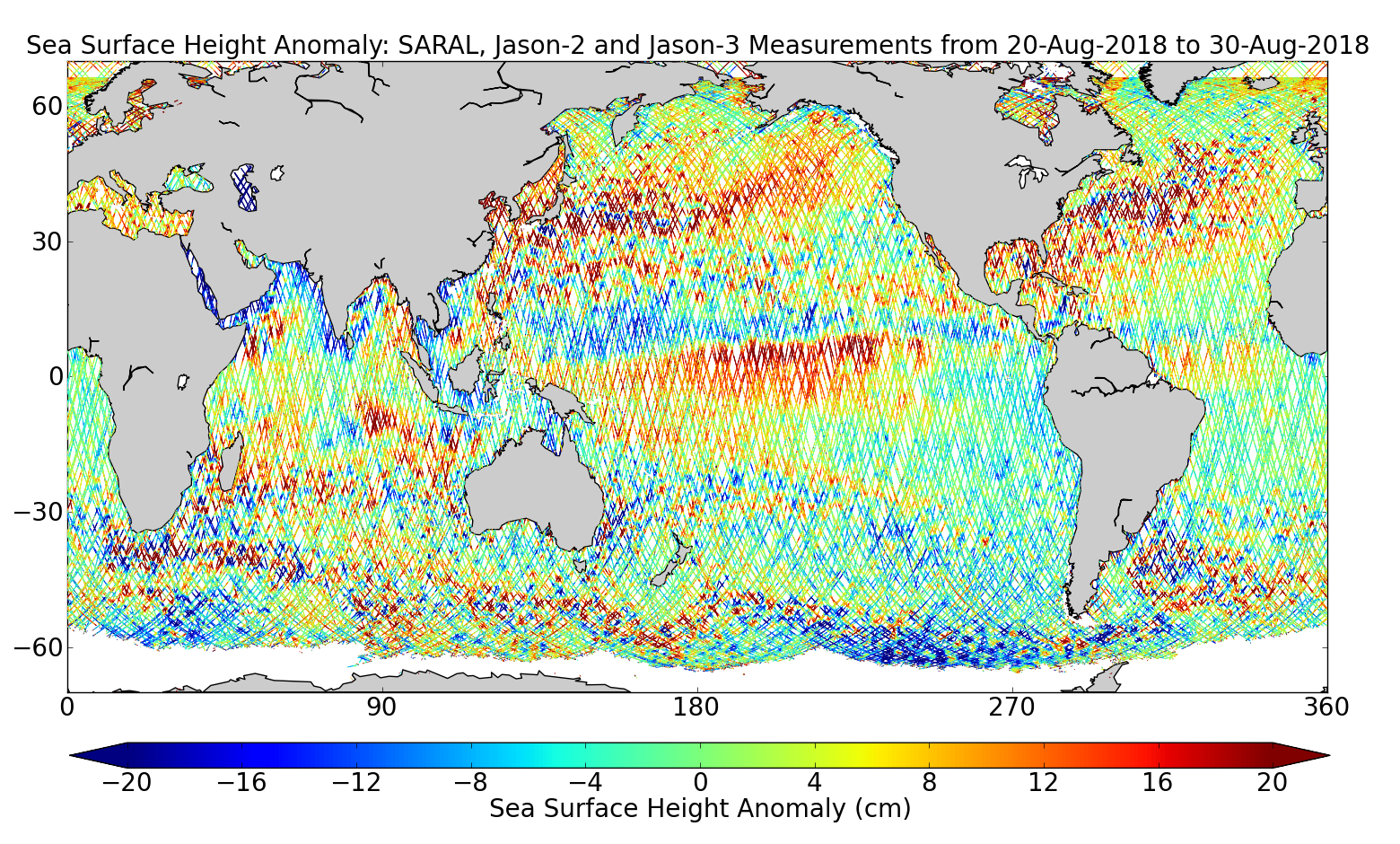 Sea Surface Height Anomaly: SARAL, Jason-2 and Jason-3 Measurements from 20-Aug-2018 to 30-Aug-2018