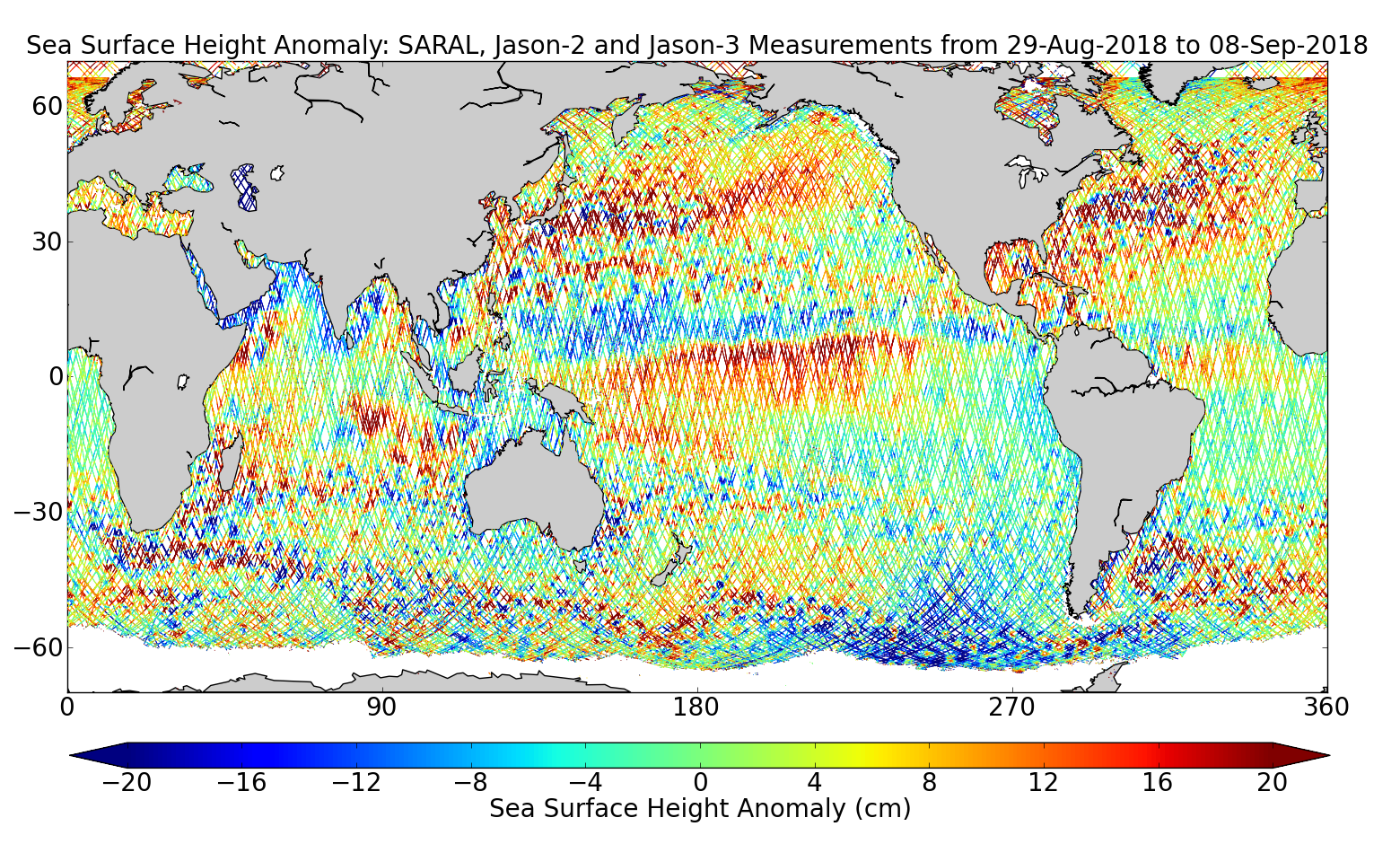 Sea Surface Height Anomaly: SARAL, Jason-2 and Jason-3 Measurements from 29-Aug-2018 to 08-Sep-2018