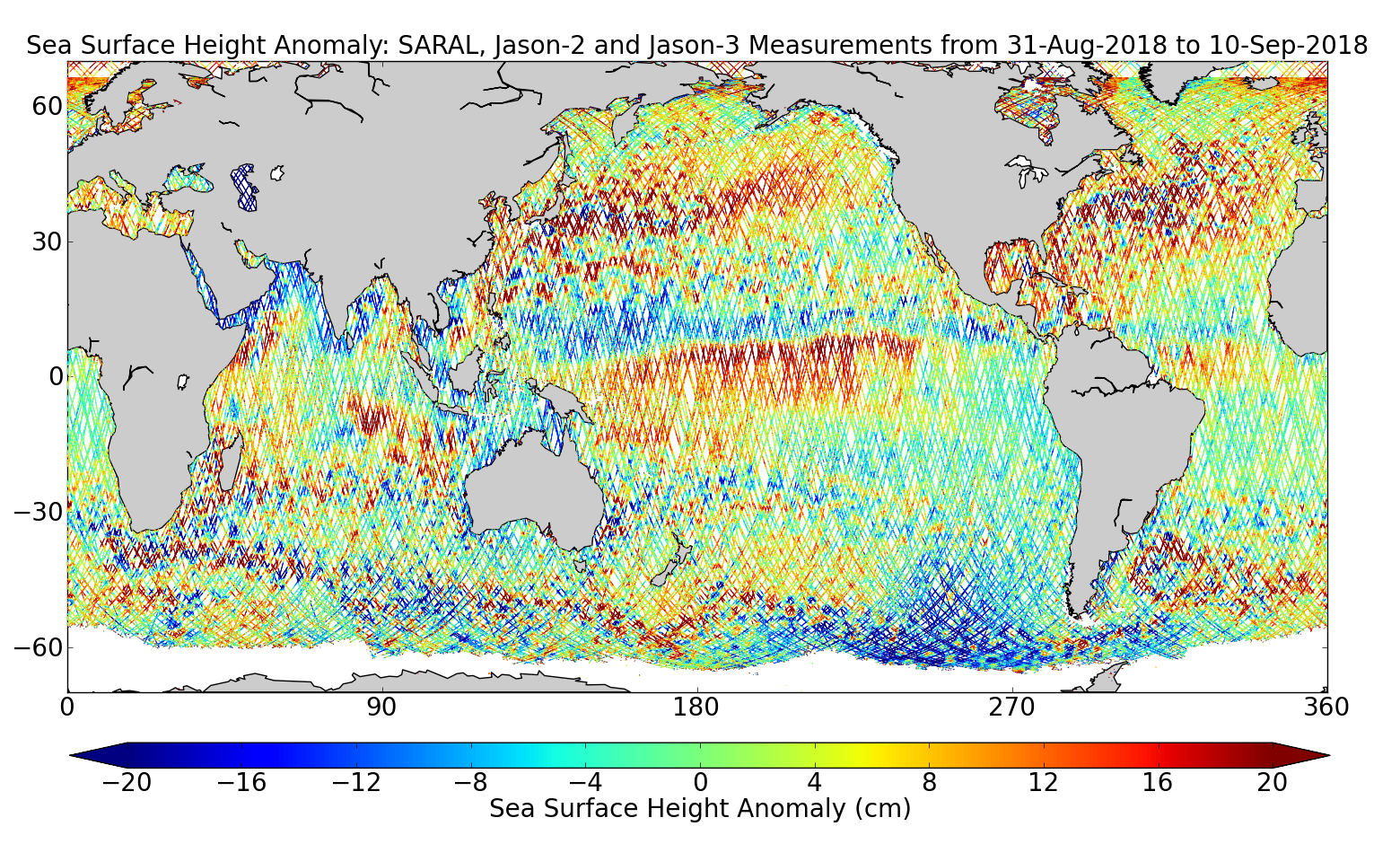 Sea Surface Height Anomaly: SARAL, Jason-2 and Jason-3 Measurements from 31-Aug-2018 to 10-Sep-2018