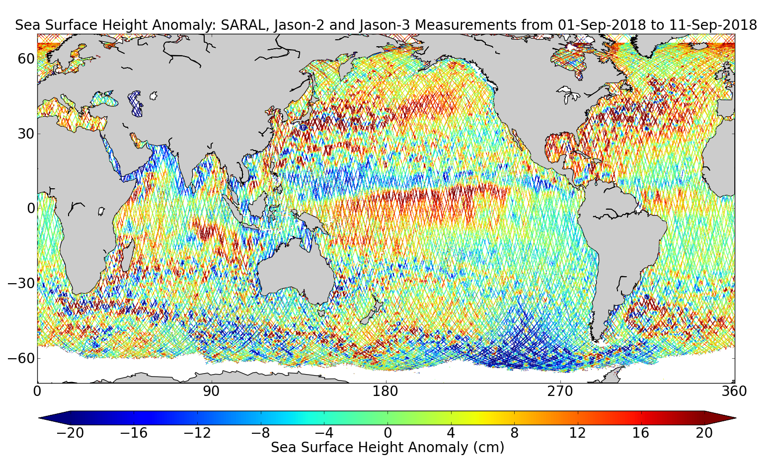 Sea Surface Height Anomaly: SARAL, Jason-2 and Jason-3 Measurements from 01-Sep-2018 to 11-Sep-2018