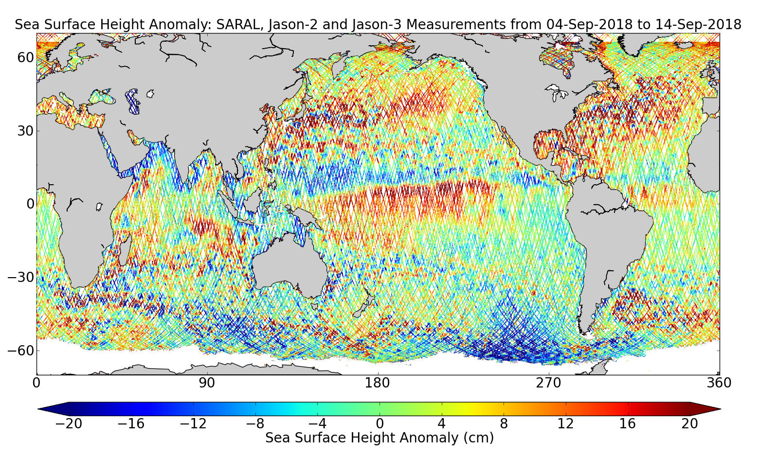 Sea Surface Height Anomaly: SARAL, Jason-2 and Jason-3 Measurements from 04-Sep-2018 to 14-Sep-2018