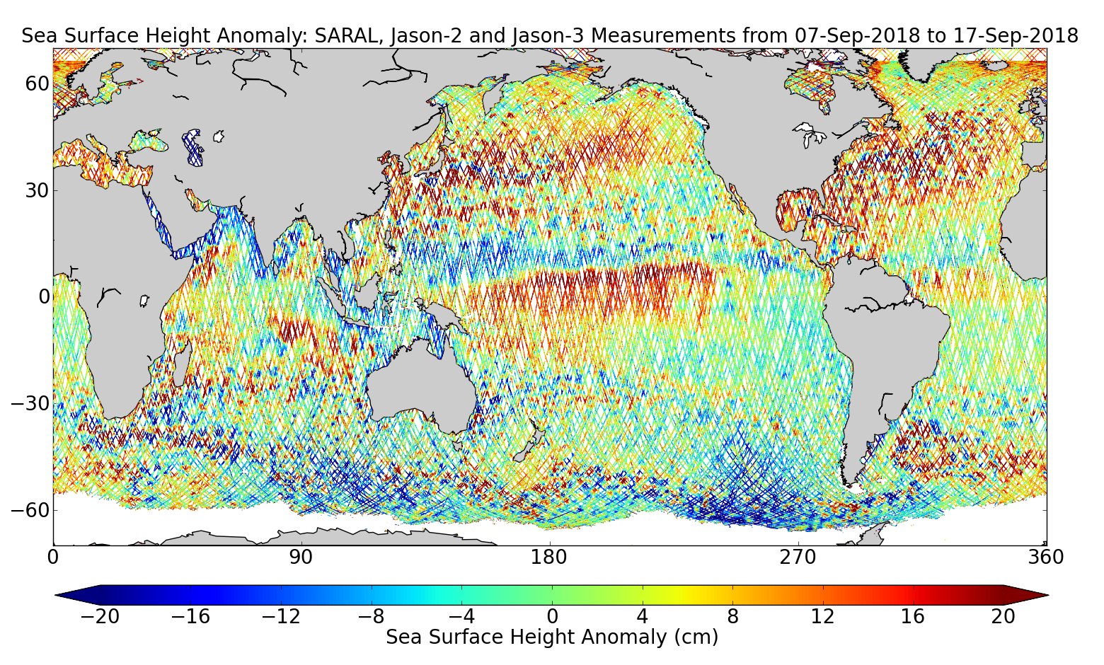 Sea Surface Height Anomaly: SARAL, Jason-2 and Jason-3 Measurements from 07-Sep-2018 to 17-Sep-2018