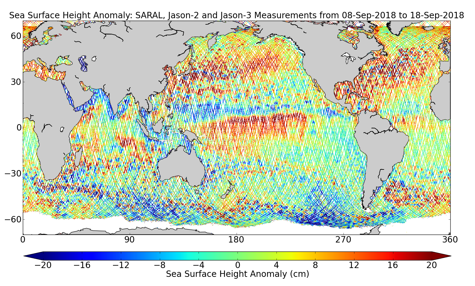 Sea Surface Height Anomaly: SARAL, Jason-2 and Jason-3 Measurements from 08-Sep-2018 to 18-Sep-2018