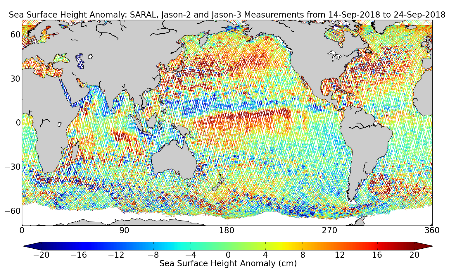Sea Surface Height Anomaly: SARAL, Jason-2 and Jason-3 Measurements from 14-Sep-2018 to 24-Sep-2018