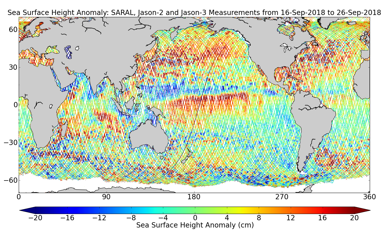 Sea Surface Height Anomaly: SARAL, Jason-2 and Jason-3 Measurements from 16-Sep-2018 to 26-Sep-2018