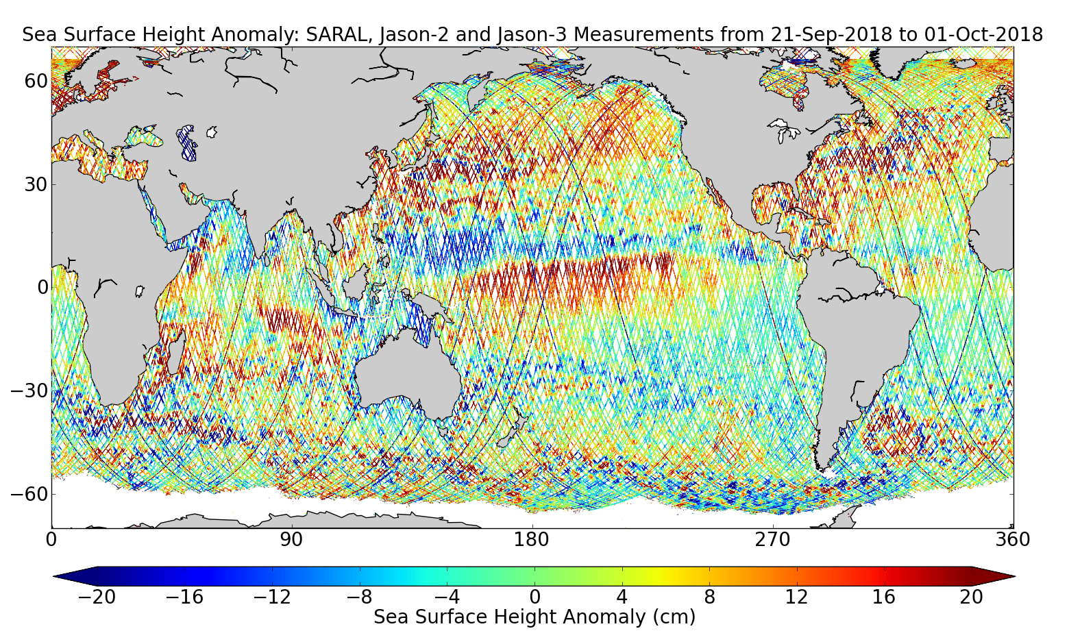 Sea Surface Height Anomaly: SARAL, Jason-2 and Jason-3 Measurements from 21-Sep-2018 to 01-Oct-2018