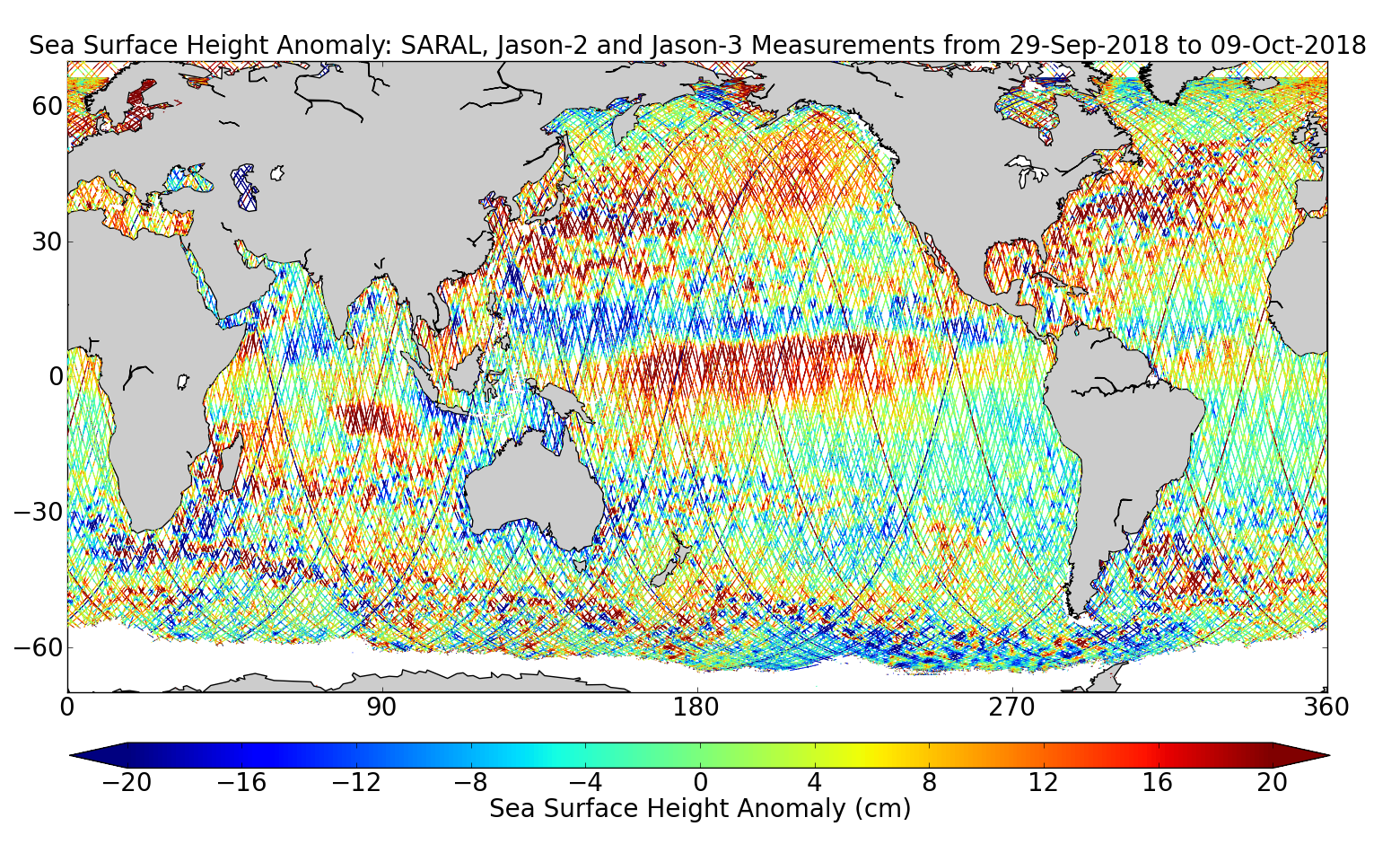 Sea Surface Height Anomaly: SARAL, Jason-2 and Jason-3 Measurements from 29-Sep-2018 to 09-Oct-2018