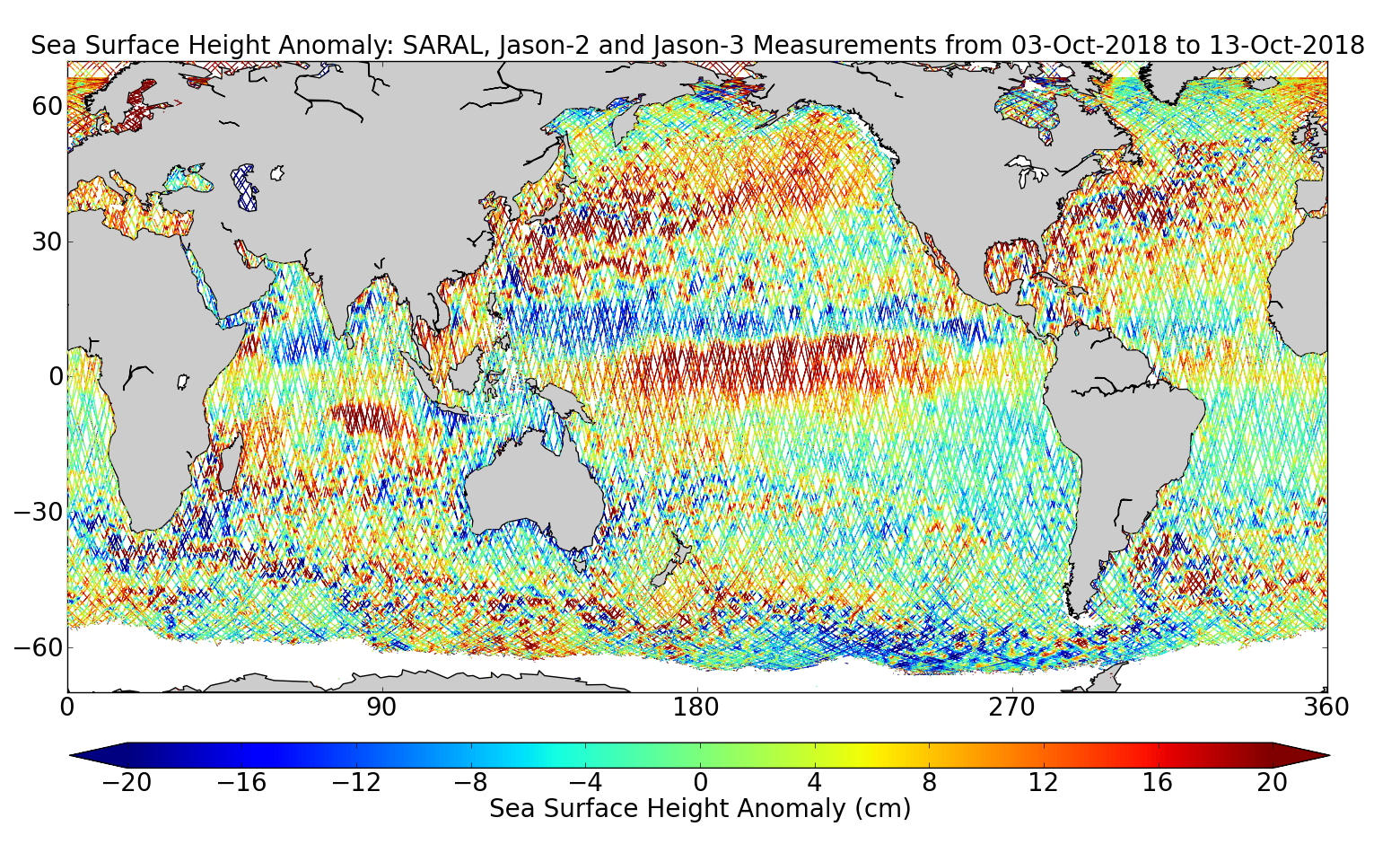 Sea Surface Height Anomaly: SARAL, Jason-2 and Jason-3 Measurements from 03-Oct-2018 to 13-Oct-2018