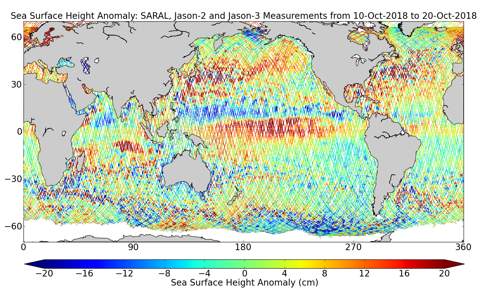 Sea Surface Height Anomaly: SARAL, Jason-2 and Jason-3 Measurements from 10-Oct-2018 to 20-Oct-2018