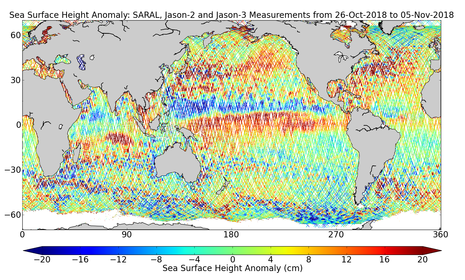 Sea Surface Height Anomaly: SARAL, Jason-2 and Jason-3 Measurements from 26-Oct-2018 to 05-Nov-2018