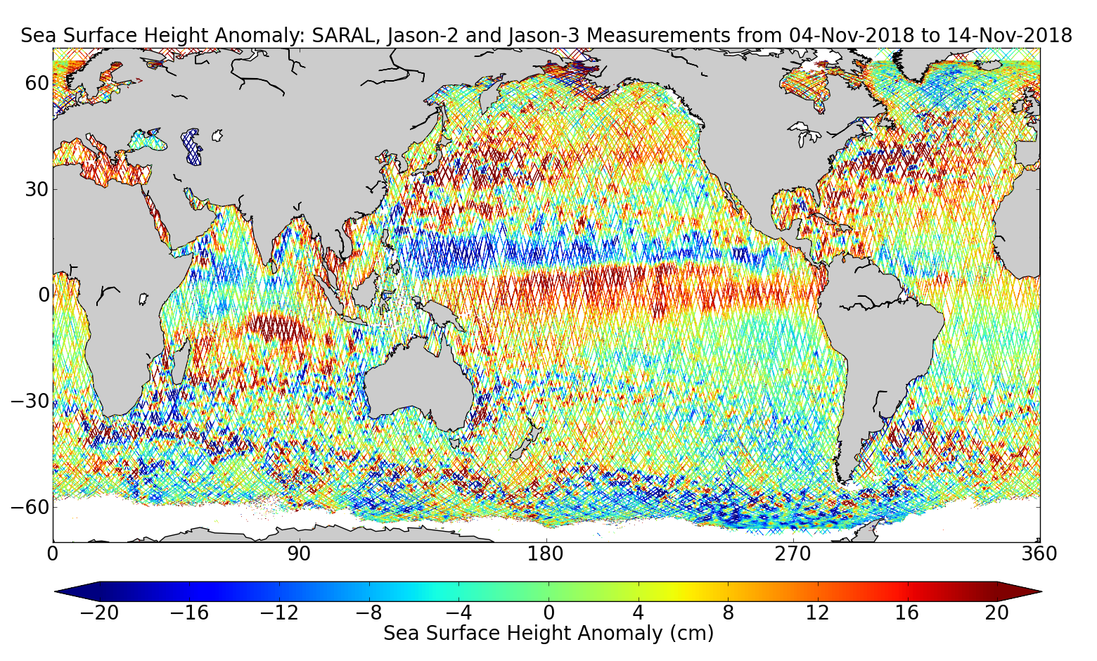 Sea Surface Height Anomaly: SARAL, Jason-2 and Jason-3 Measurements from 04-Nov-2018 to 14-Nov-2018