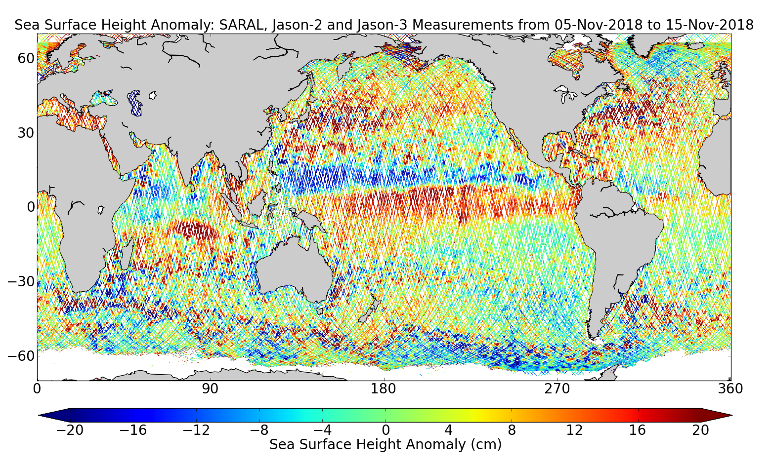 Sea Surface Height Anomaly: SARAL, Jason-2 and Jason-3 Measurements from 05-Nov-2018 to 15-Nov-2018