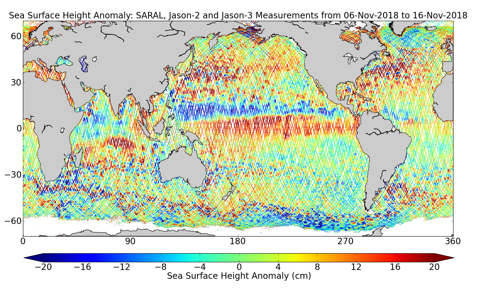 Sea Surface Height Anomaly: SARAL, Jason-2 and Jason-3 Measurements from 06-Nov-2018 to 16-Nov-2018