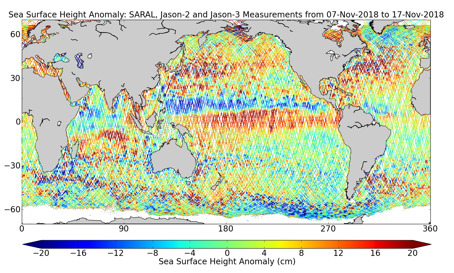 Sea Surface Height Anomaly: SARAL, Jason-2 and Jason-3 Measurements from 07-Nov-2018 to 17-Nov-2018