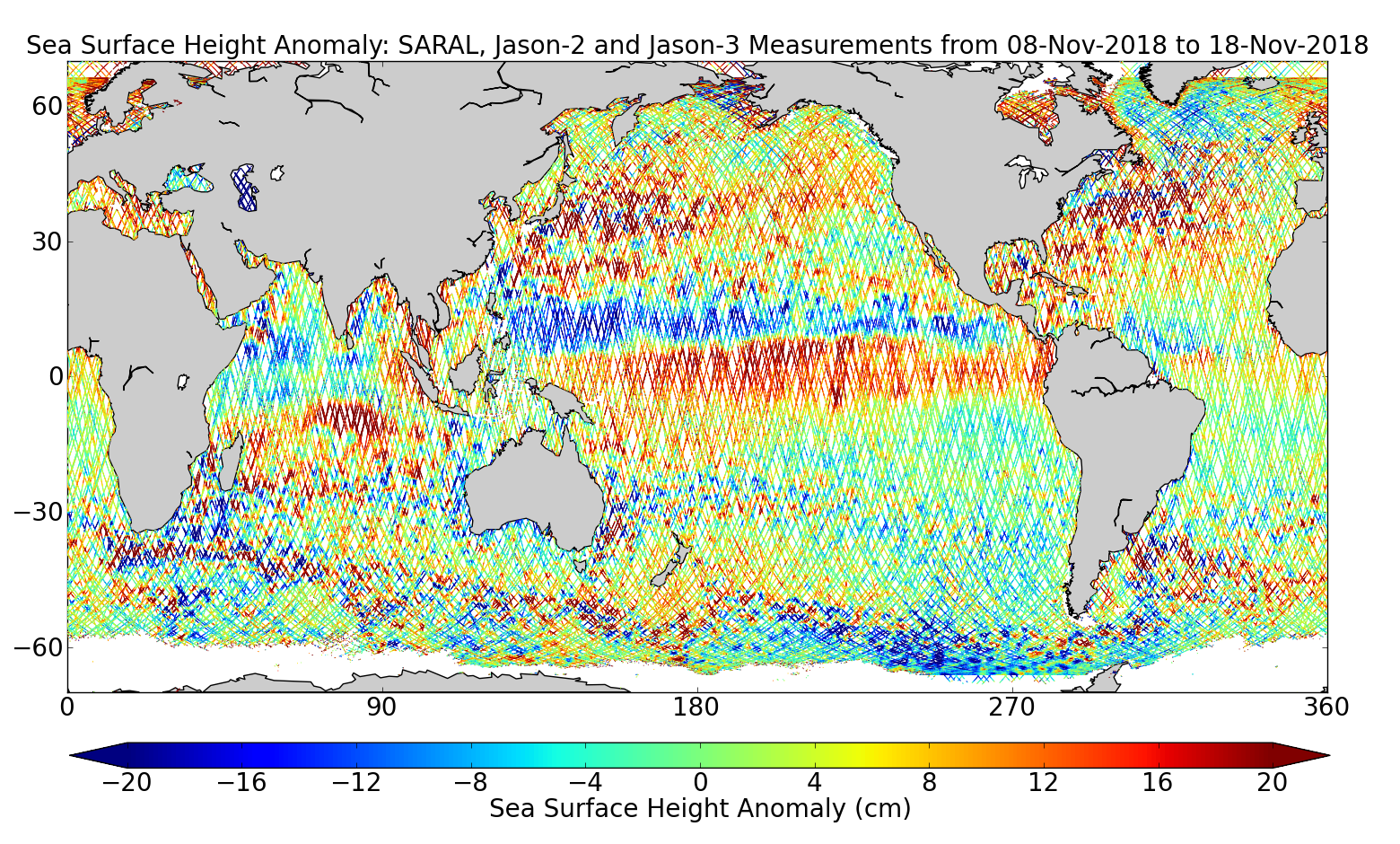 Sea Surface Height Anomaly: SARAL, Jason-2 and Jason-3 Measurements from 08-Nov-2018 to 18-Nov-2018
