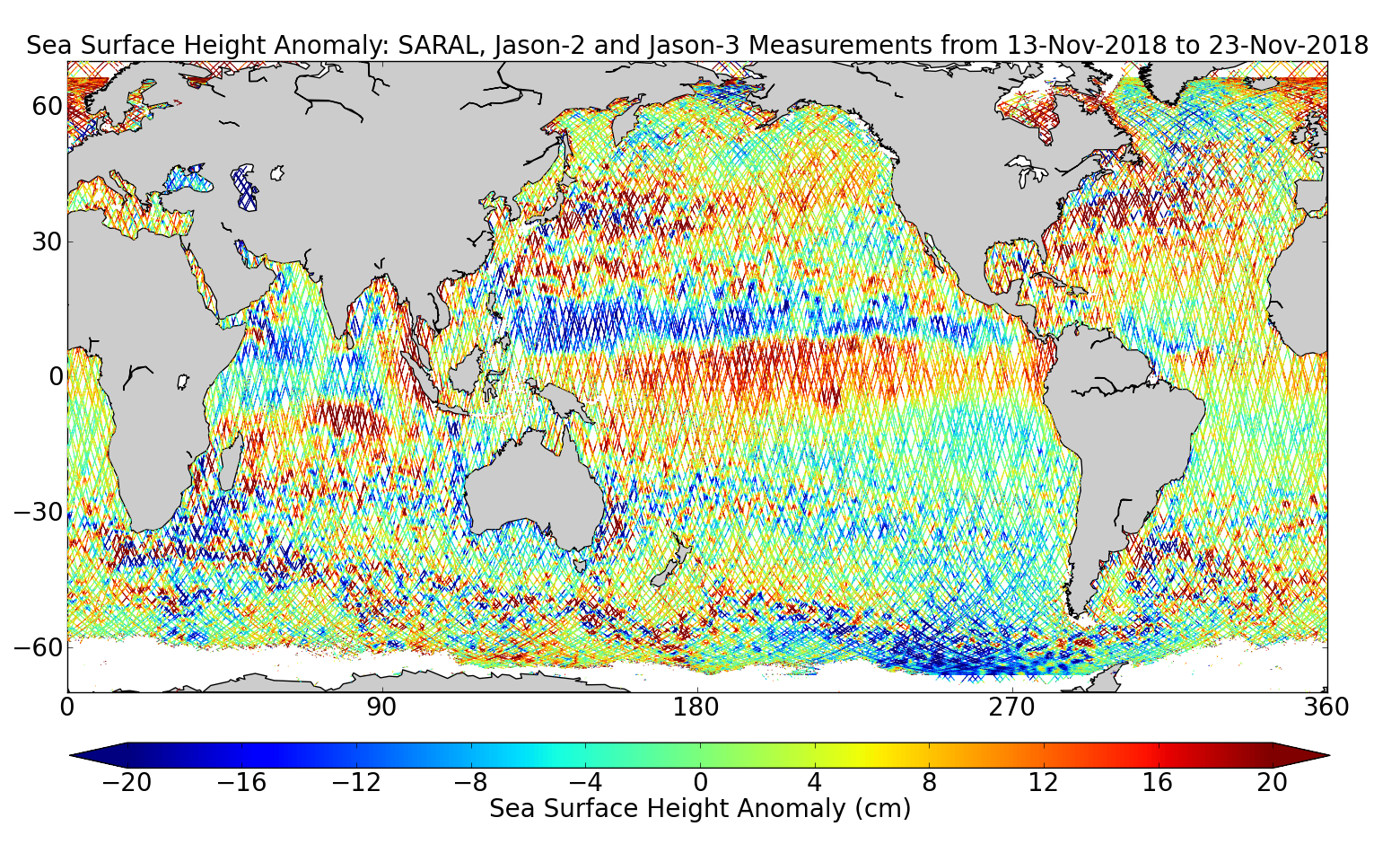 Sea Surface Height Anomaly: SARAL, Jason-2 and Jason-3 Measurements from 13-Nov-2018 to 23-Nov-2018