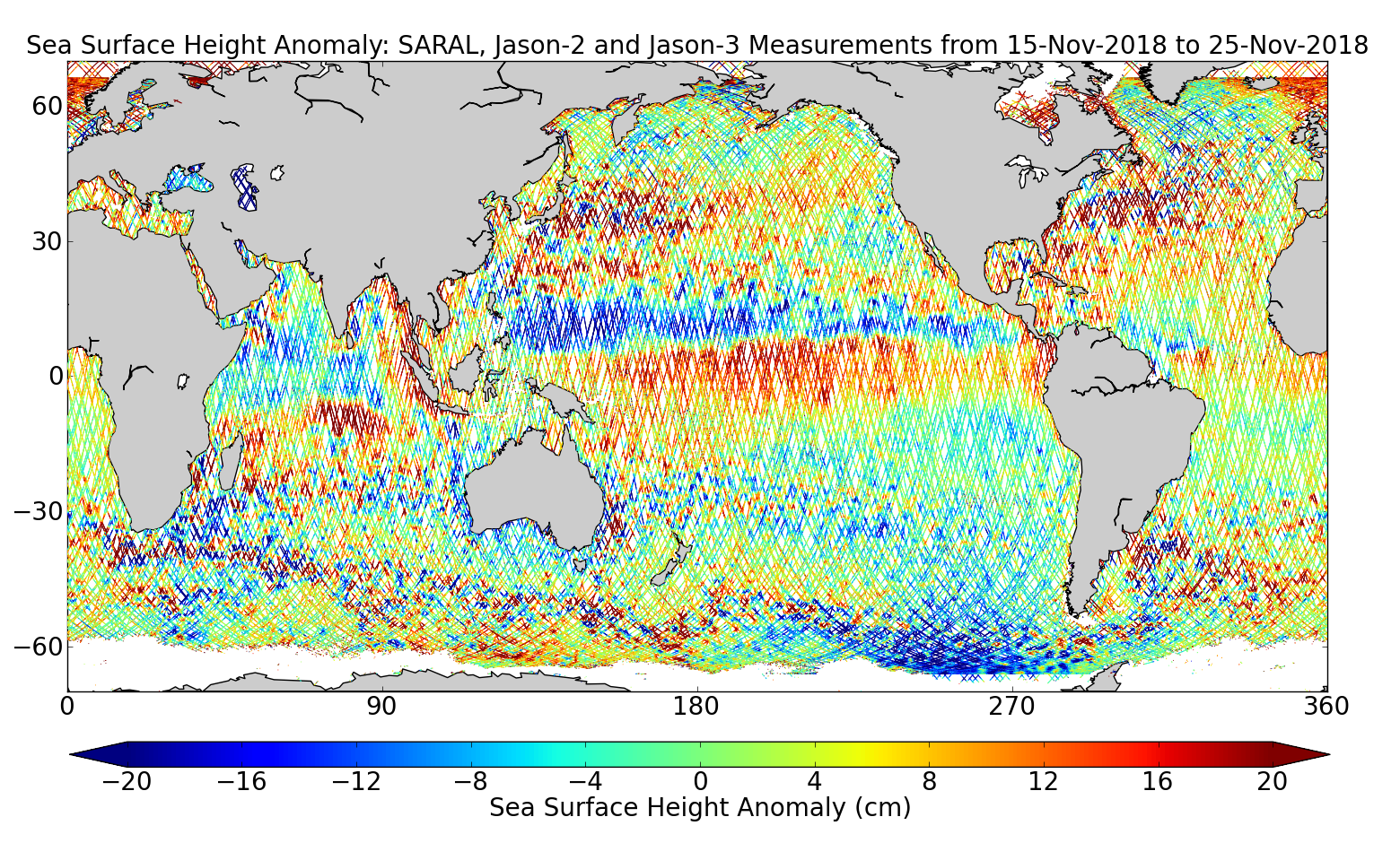 Sea Surface Height Anomaly: SARAL, Jason-2 and Jason-3 Measurements from 15-Nov-2018 to 25-Nov-2018