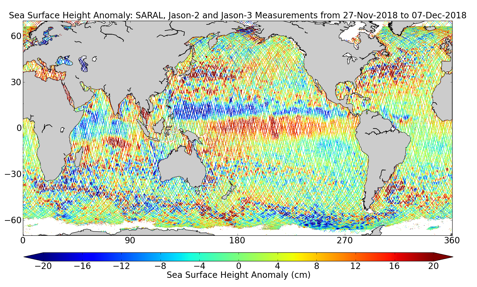 Sea Surface Height Anomaly: SARAL, Jason-2 and Jason-3 Measurements from 27-Nov-2018 to 07-Dec-2018
