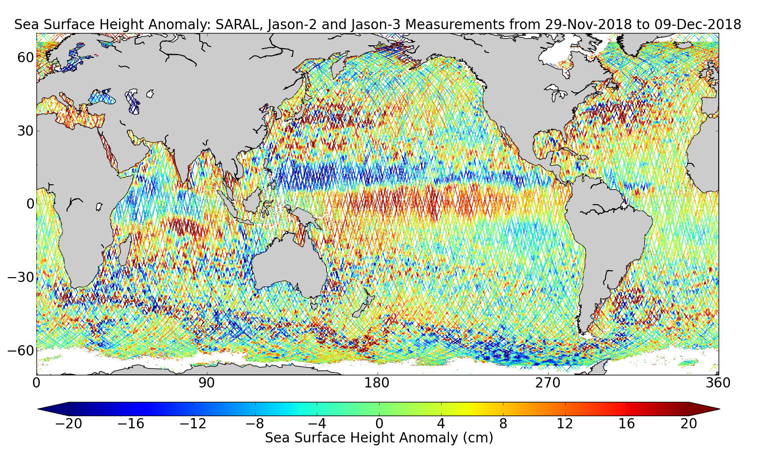 Sea Surface Height Anomaly: SARAL, Jason-2 and Jason-3 Measurements from 29-Nov-2018 to 09-Dec-2018