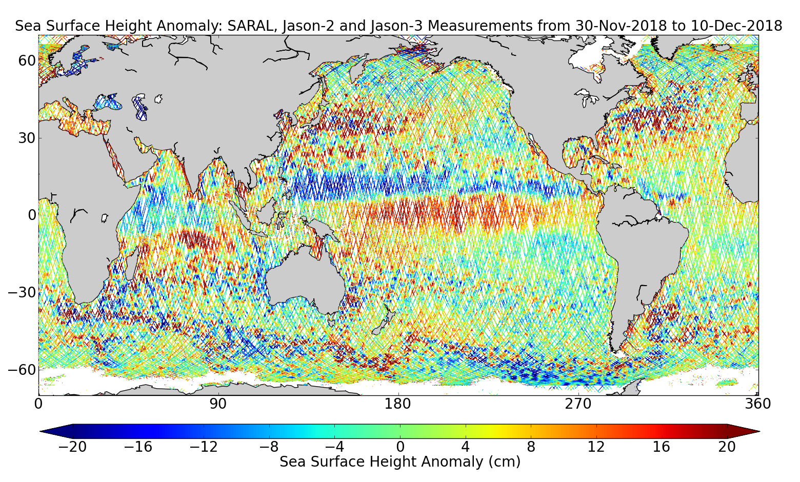 Sea Surface Height Anomaly: SARAL, Jason-2 and Jason-3 Measurements from 30-Nov-2018 to 10-Dec-2018