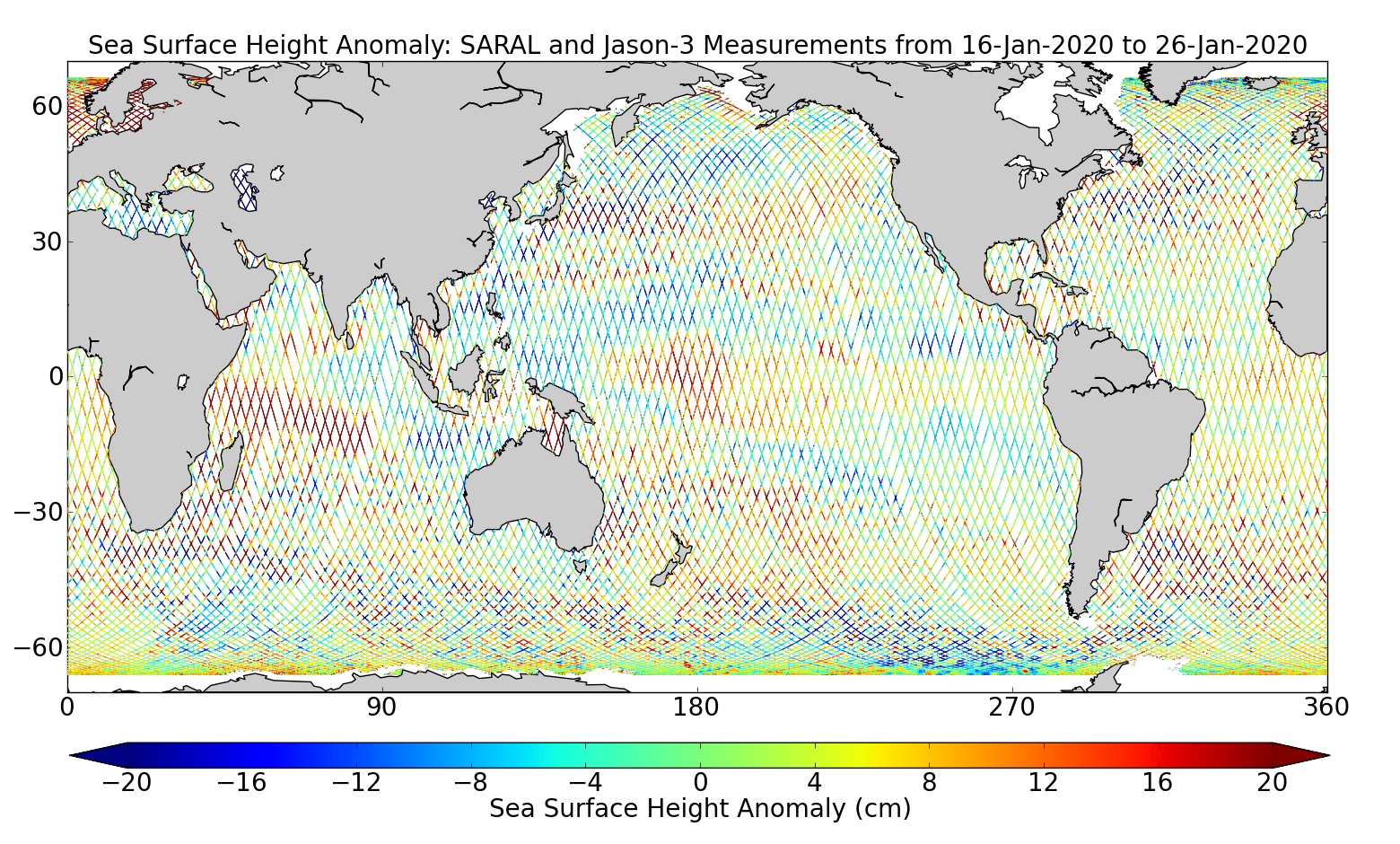 Sea Surface Height Anomaly: SARAL and Jason-3 Measurements from 16-Jan-2020 to 26-Jan-2020
