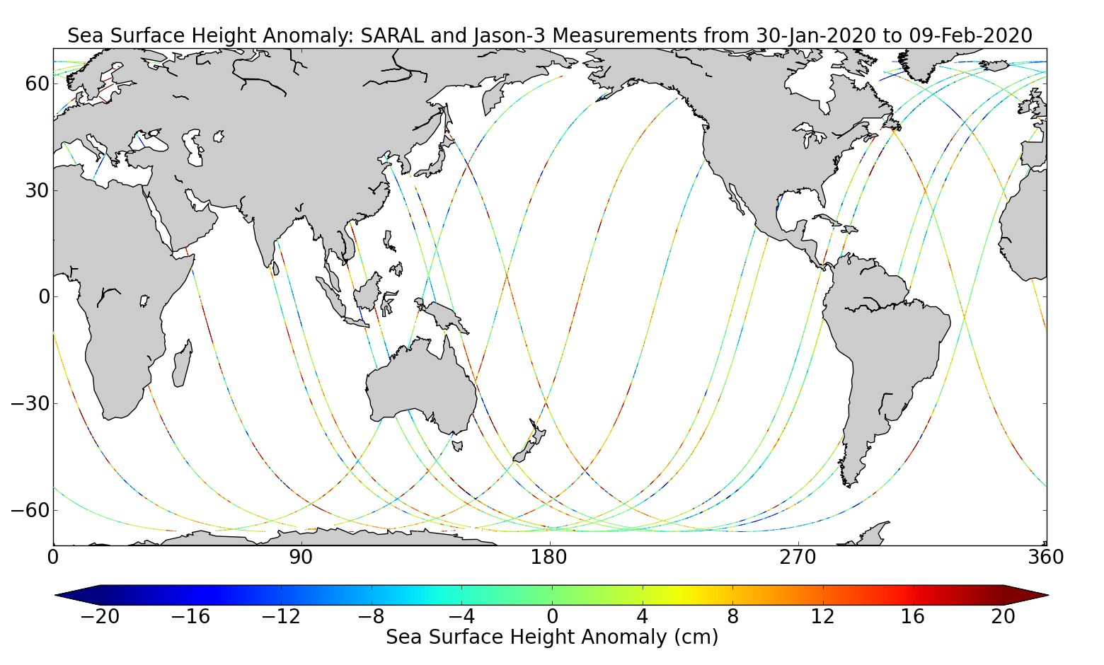 Sea Surface Height Anomaly: SARAL and Jason-3 Measurements from 30-Jan-2020 to 09-Feb-2020