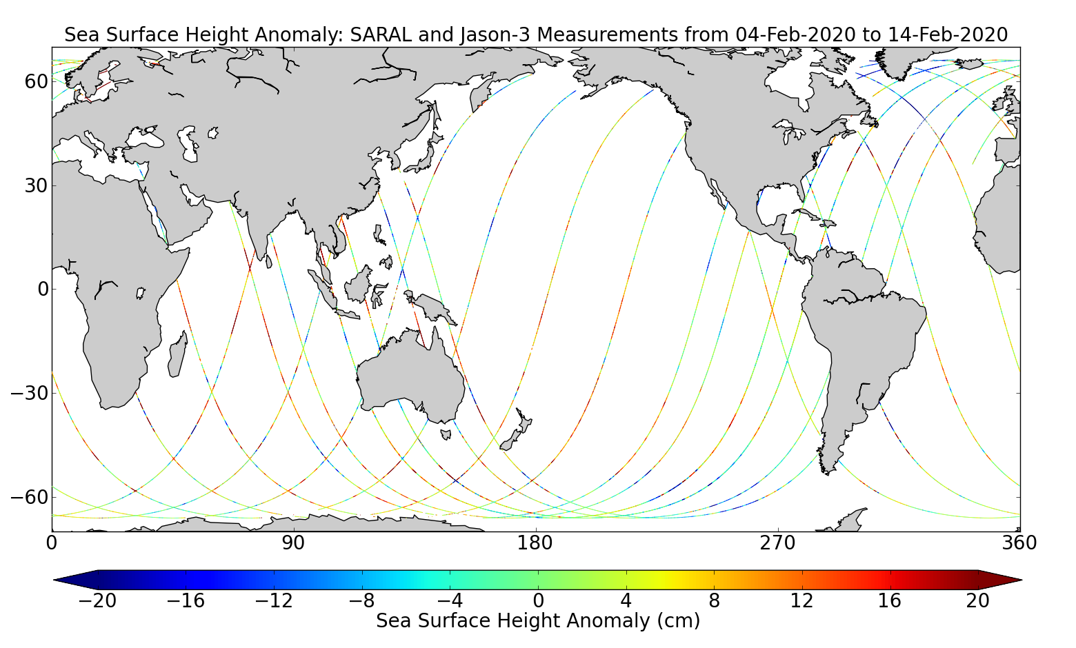 Sea Surface Height Anomaly: SARAL and Jason-3 Measurements from 04-Feb-2020 to 14-Feb-2020