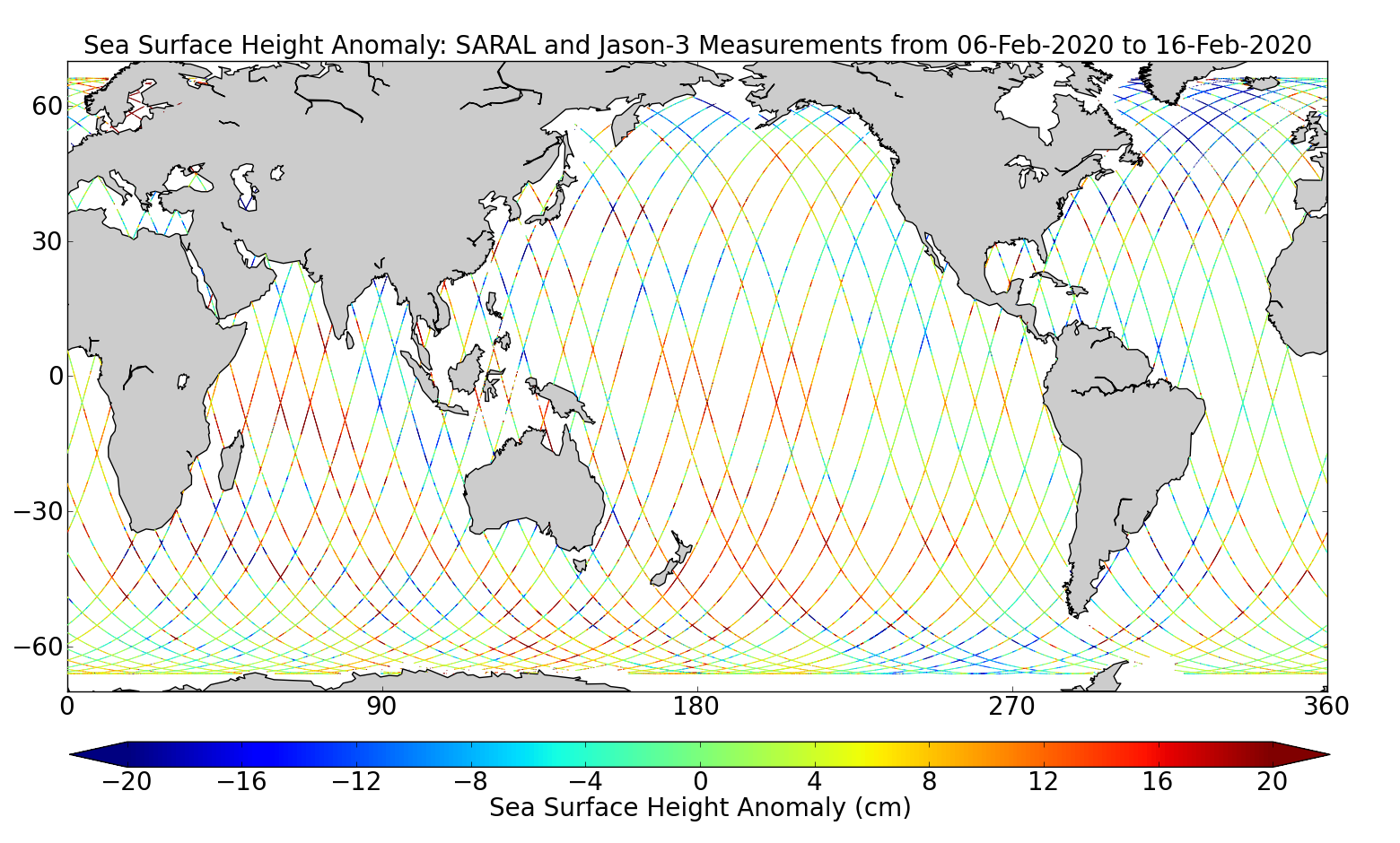 Sea Surface Height Anomaly: SARAL and Jason-3 Measurements from 06-Feb-2020 to 16-Feb-2020