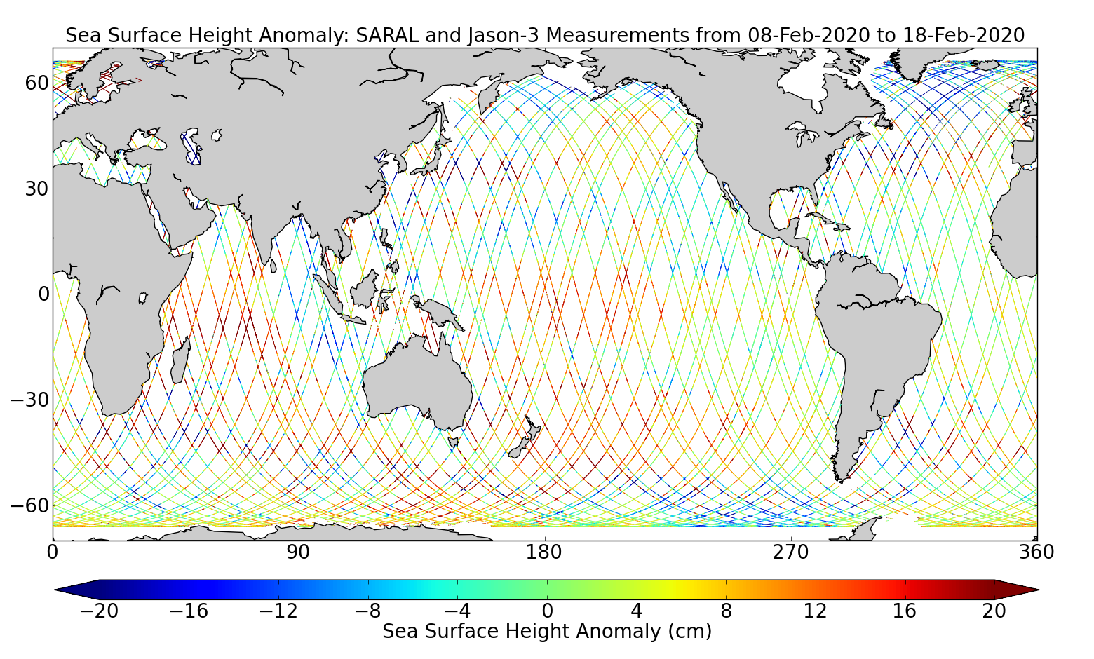 Sea Surface Height Anomaly: SARAL and Jason-3 Measurements from 08-Feb-2020 to 18-Feb-2020