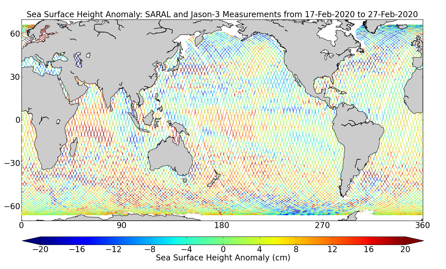 Sea Surface Height Anomaly: SARAL and Jason-3 Measurements from 17-Feb-2020 to 27-Feb-2020