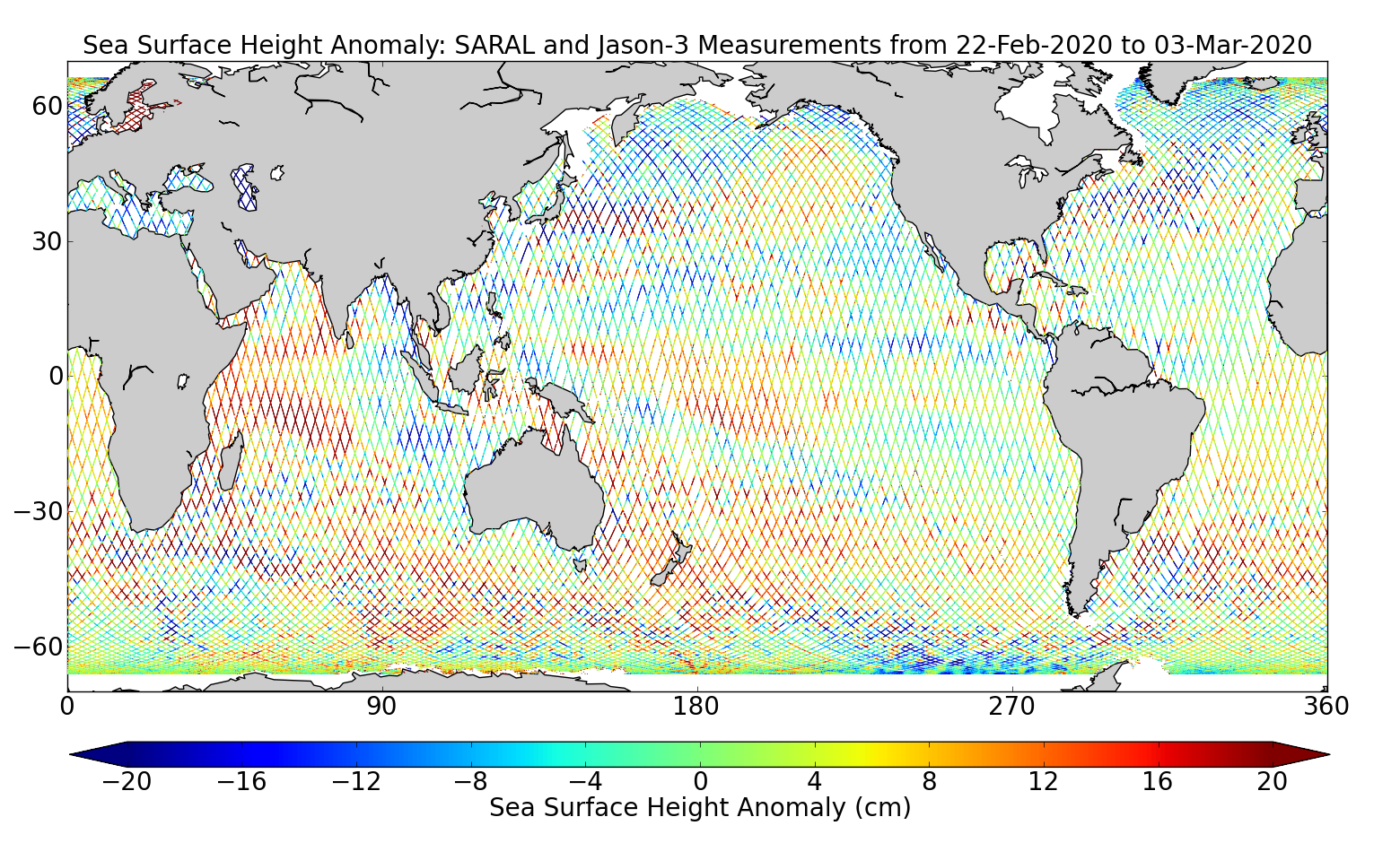 Sea Surface Height Anomaly: SARAL and Jason-3 Measurements from 22-Feb-2020 to 03-Mar-2020