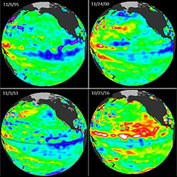 Weak La Nina images from 1995, 2000, 2011, and 2016