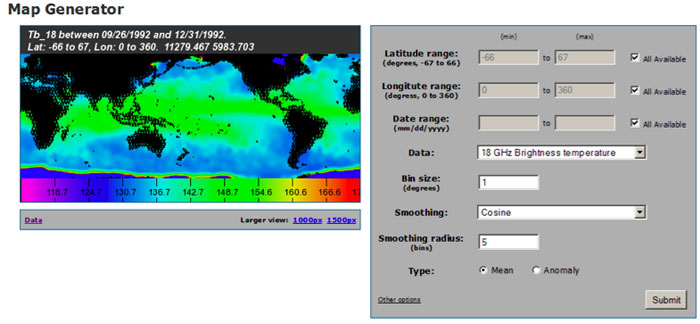 Screen capture of the AMR map generator tool.