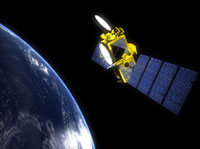 Artists concept of the OSTM/Jason-2 spacecraft in Earth orbit.
