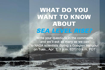 Image of ocean wave crashing with info about Goddard Google Hangout
