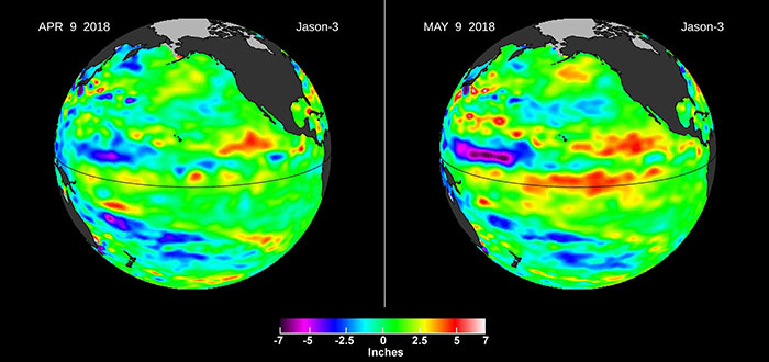 Downwelling Kelvin Wave in the Pacific