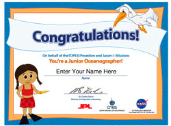 Thumbnail of Jr. Oceanographer Quiz Certificate with girl.