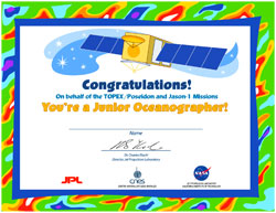 Thumbnail of Jr. Oceanographer Quiz Certificate with TOPEX/Poseidon spacecraft.